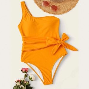 Other - Tie Waist One Shoulder One Piece Swimsuit